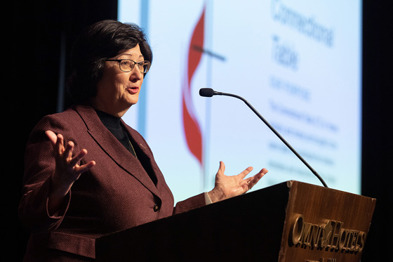 Barbara Boigegrain, top executive of Wespath Benefits and Investments, addresses the 2020 Pre-General Conference Briefing in Nashville, Tenn. Photo by Mike DuBose, UM News.