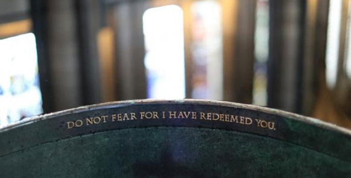 """""""Do not fear for I have redeemed you"""" is written on the baptismal font at Salisbury Cathedral in England. Photo by Kathleen Barry, United Methodist Communications."""