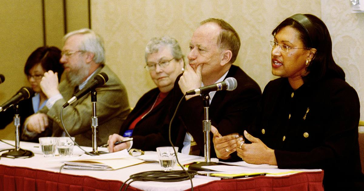 The Rev. Joy Moore (right) talks about the nature of the church during a panel discussion at the Pre-General Conference News Briefing in Pittsburgh Jan. 30. UMNS photo by Mike DuBose