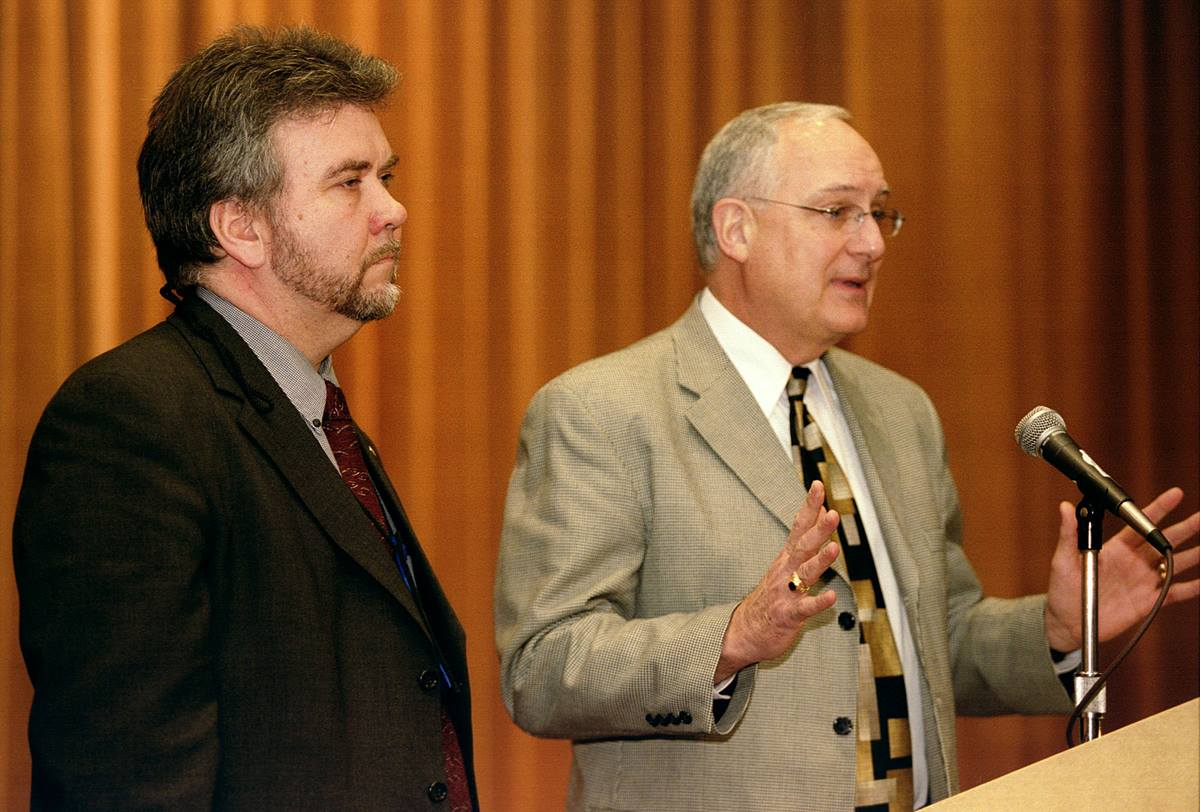 "Oyvind Helliesen (left) and Daniel K. Church present the ""Living into the Future"" plan during the Pre-General Conference News Briefing in Pittsburgh. UMNS photo by Mike DuBose"