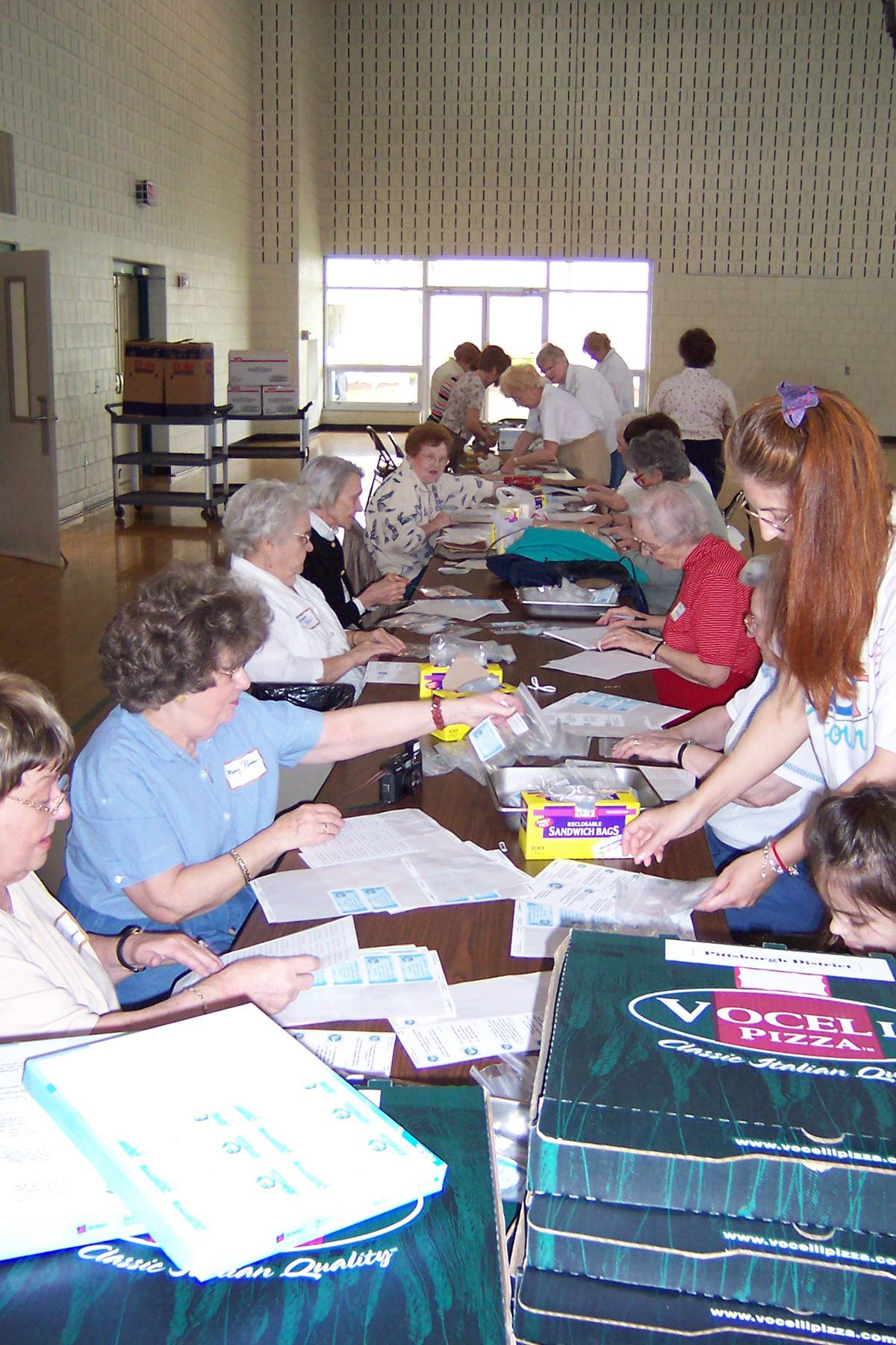 Volunteers at Christ United Methodist Church in Bethel Park, south of Pittsburgh, packed nearly 4,000 cookies to be distributed at the 2004 General Conference. Providing cookies is traditional role for the host conference at denomination's top legislative meeting