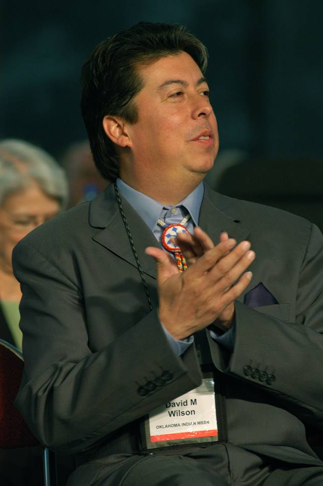 The Rev. David Wilson, Oklahoma Indian Missionary Conference, applauds a speaker at the United Methodist Church's 2004 General Conference in Pittsburgh. A UMNS photo by John C. Goodwin.