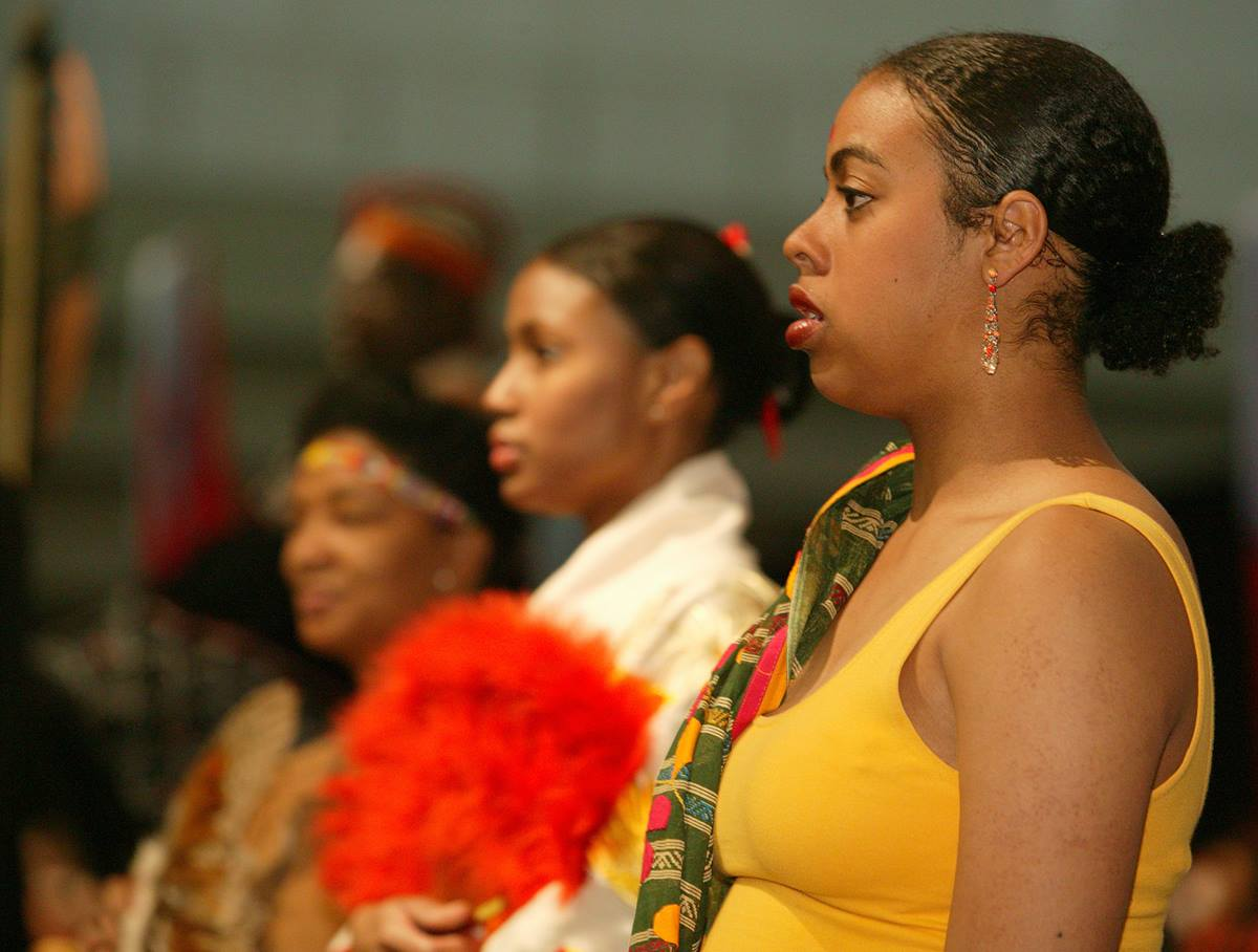 Liturgical dancers from Kapp N Kompany at Fort Street UMC, Atlanta dance during the opening worship. A UMNS photo by Mike DuBose.
