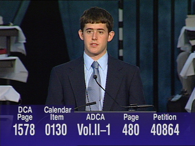 Thousands of dreams came true May 1 when the 2004 General Conference voted overwhelmingly to approve a Division on Ministries with Young People. Video still by United Methodist Communications.