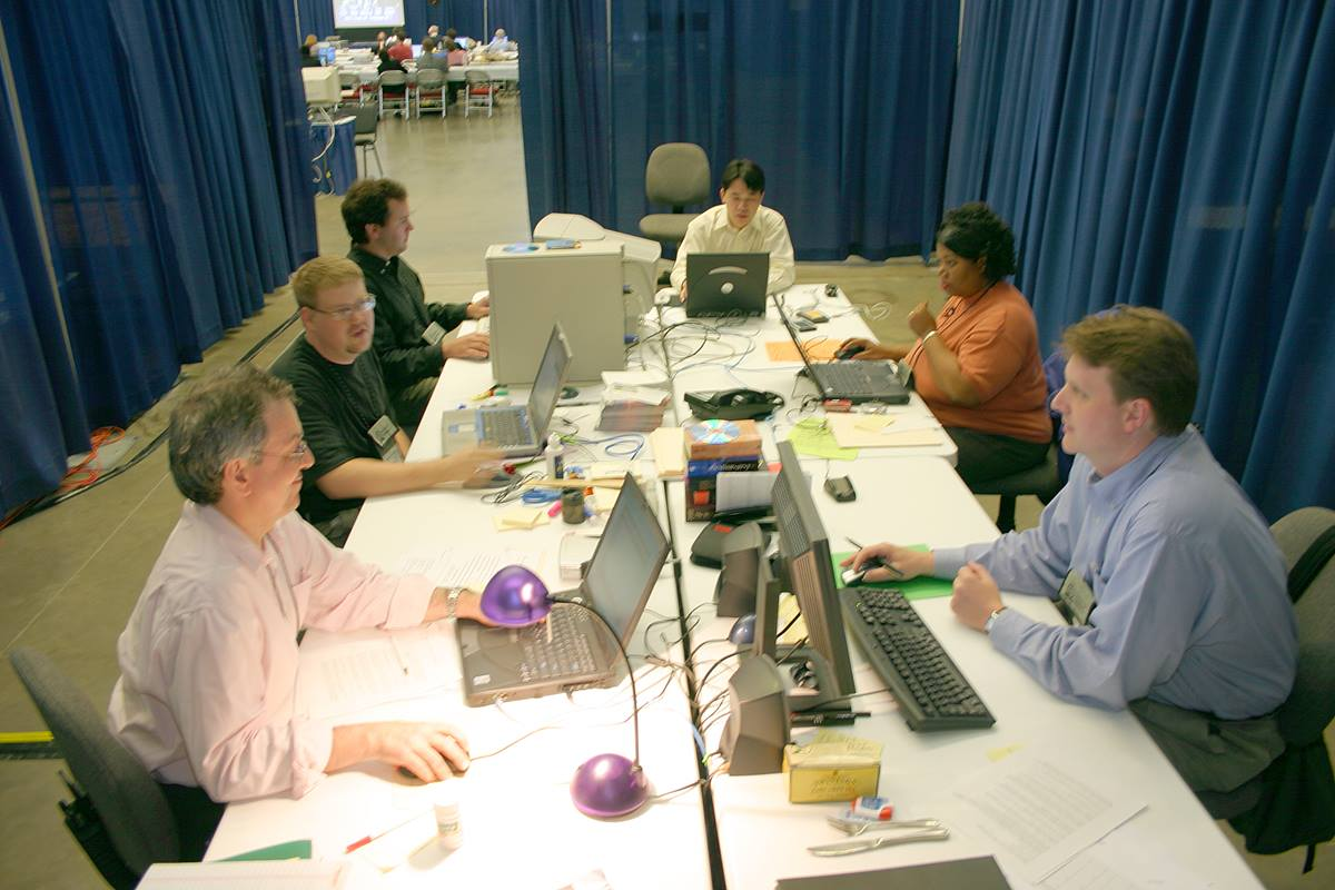 United Methodist Communications' Web Ministry Team produce the Internet report of work of General Conference delegates. A UMNS photo by Rasul Welch.