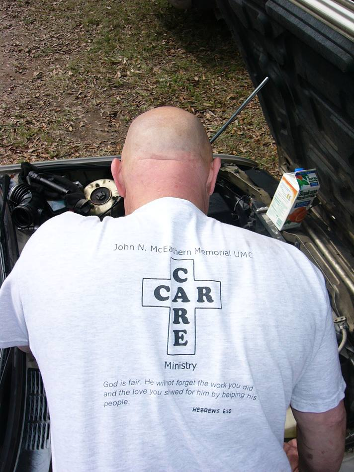 Airline mechanic David McCoy started the car care ministry in 2002. A UMNS photo by Lyle Jackson