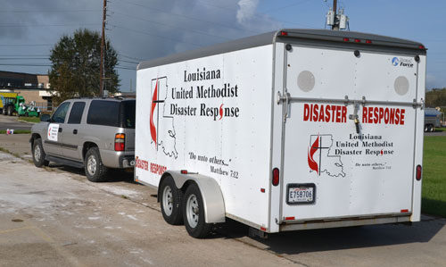 Louisiana United Methodist Disaster Response trailer is parked outside First United Methodist Church in LaPlace.