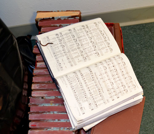 A worm made his way onto a hymnal in the flooded sanctuary of First United Methodist Church in LaPlace. A number of its friends were found throughout the building.