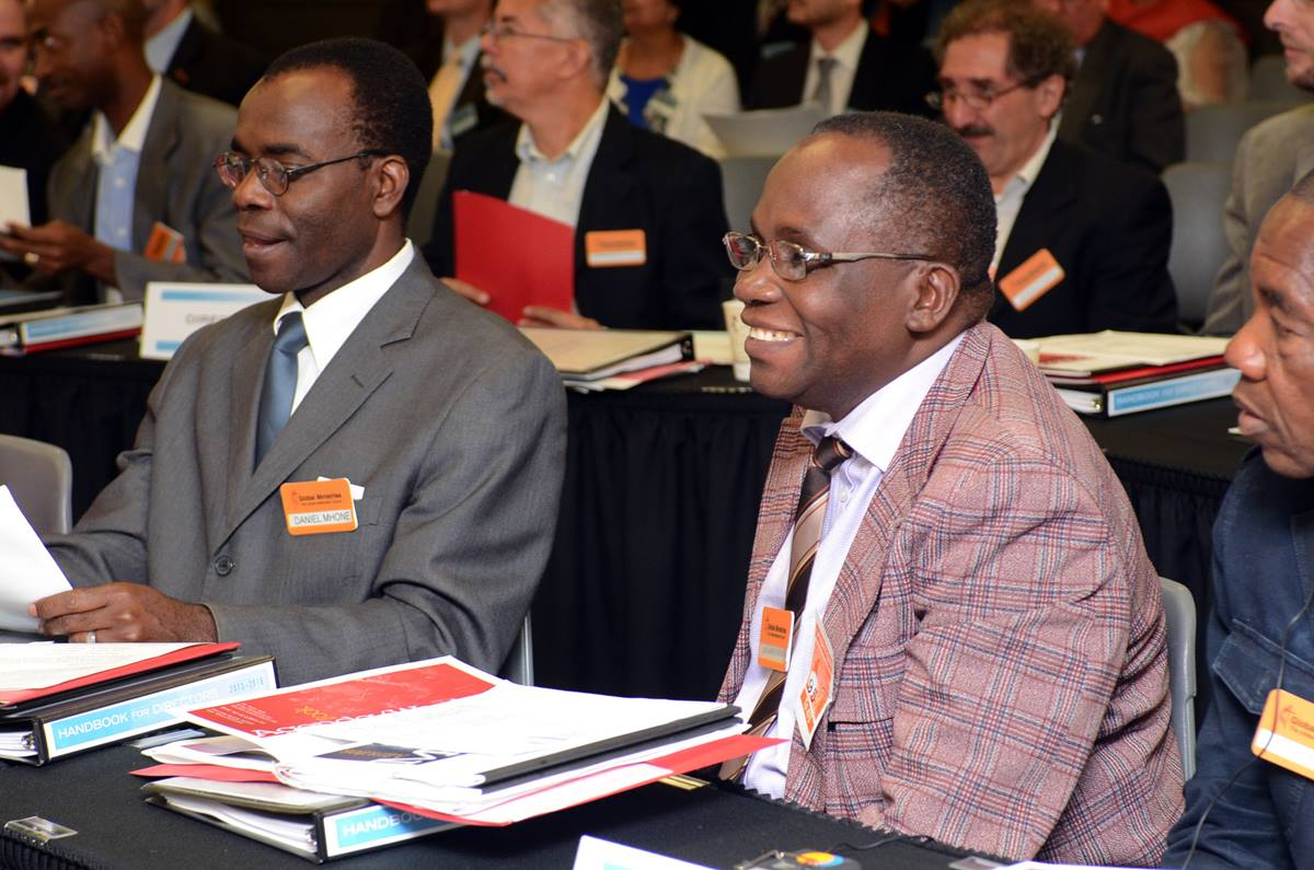 The Revs. Daniel Levson Ion Mhone of Malawi (left), and Jean-Marie Nkonge of South Congo participate in the Oct. 22-24 Board of Global Ministries meeting.