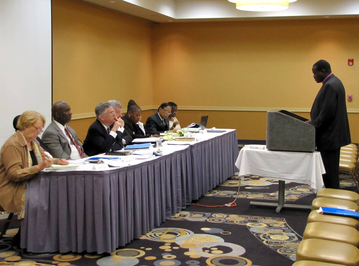 Bishop Daniel Wandabula addresses the Judicial Council. A UMNS photos by Anne Marie Gerhardt.