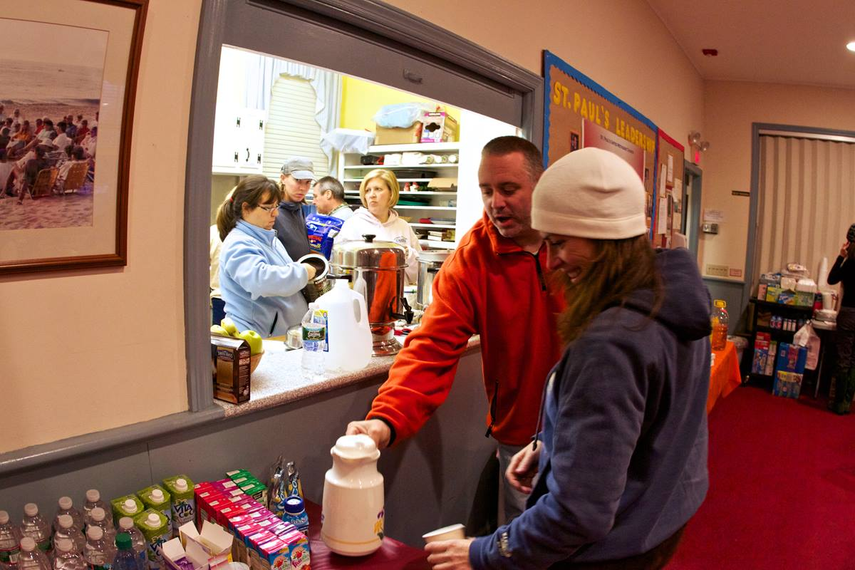 The St. Paul United Methodist Church has been serving meals to hundreds of people every day since Hurricane Sandy hit. Photo by Chris Heckert