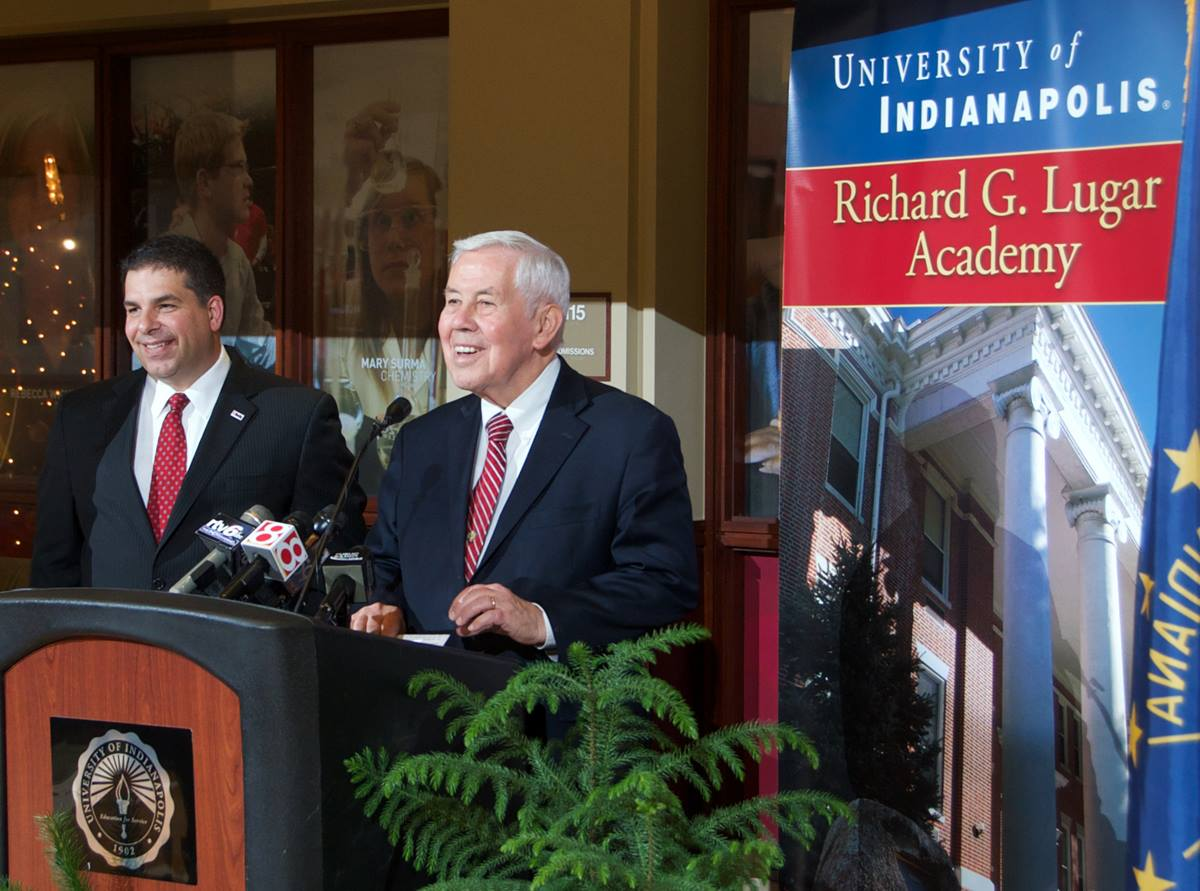 Sen. Richard Lugar (right) and University of Indianapolis president Robert Manuel announce the launch of the school's Richard G. Lugar Academy. UMNS photo courtesy of the University of Indianapolis.
