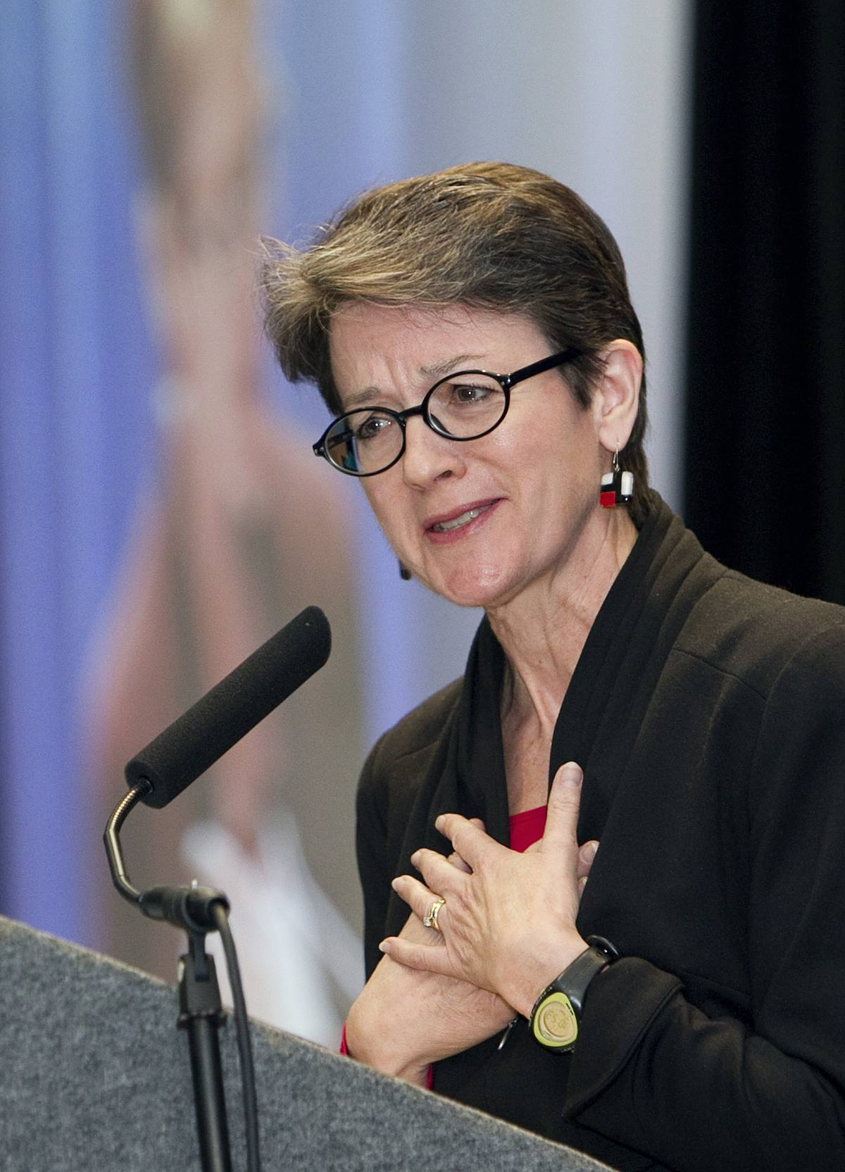 """United Methodist Bishop Sally Dyck speaks about the importance of """"holy conversation"""" about contentious issues facing The United Methodist Church during its pre-General Conference news briefing in January 2012 at the Tampa Convention Center in Florida. A UMNS photo by Mike DuBose."""