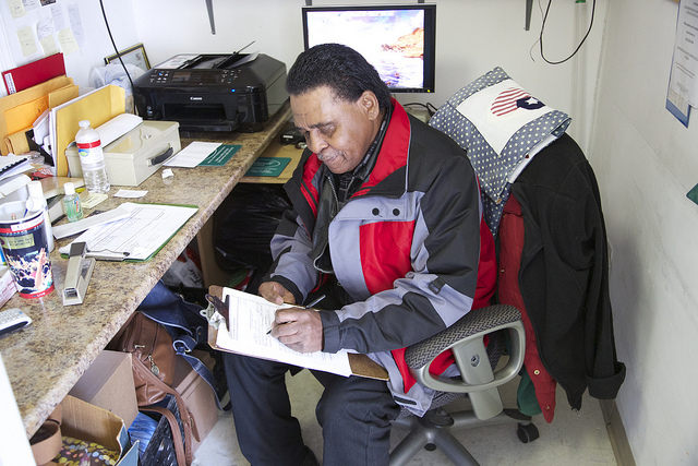 Mearl Grant, a victim of Sandy, works to helps others.