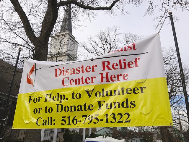 Community United Methodist Church's disaster relief center in Massapequa, N.Y.