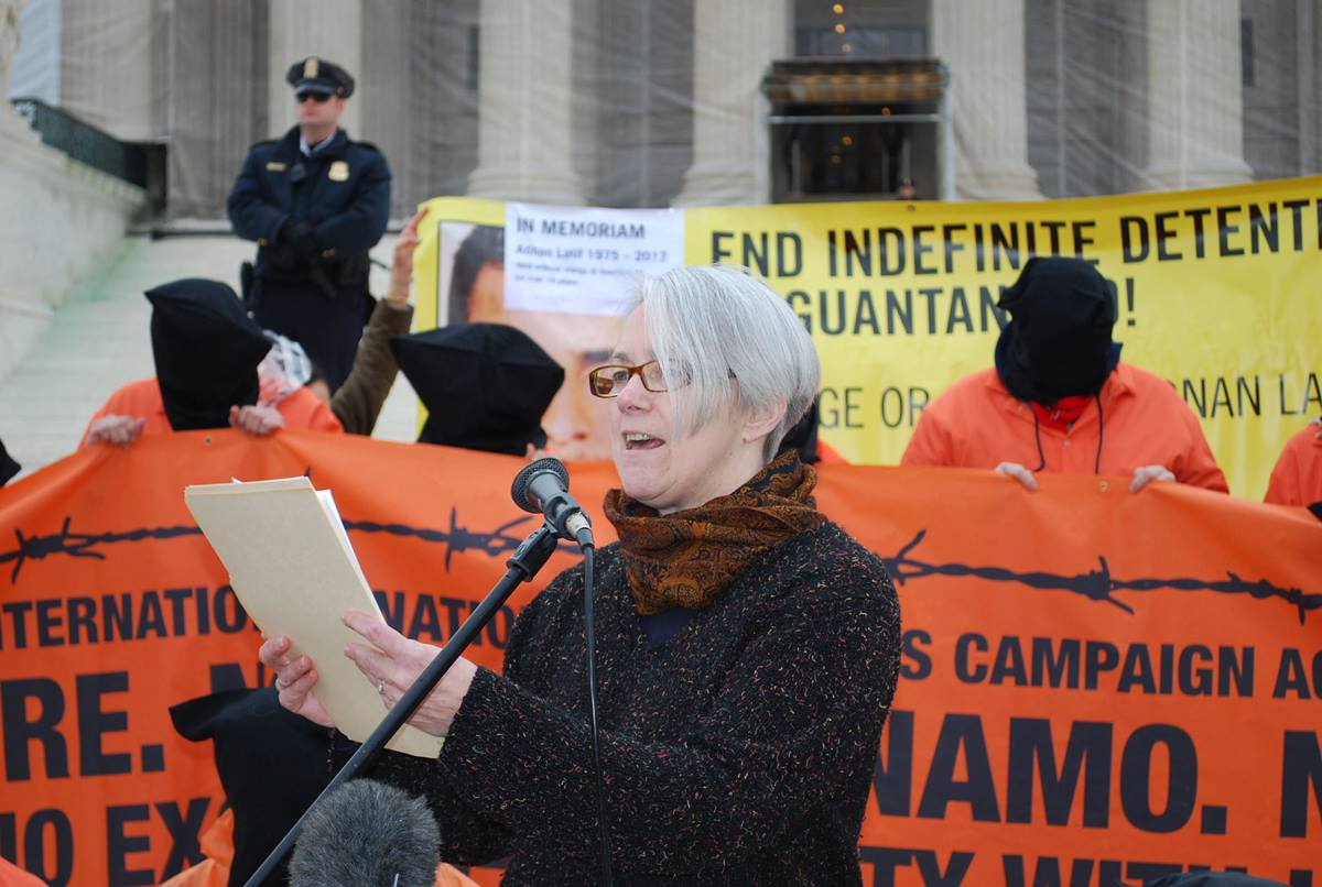 Terry Rockefeller, member of the September 11th Families for Peaceful Tomorrows, speaks during the Day of Action.