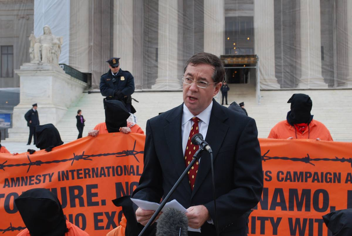 """Jim Winkler, chief executive of the United Methodist Board of Church and Society, joins in the Day of Action Against Guantanamo. """"Torture is wrong, without exception. It violates the teachings of all the world's religions,"""" he said. Photos by Michelle C. Whittaker."""