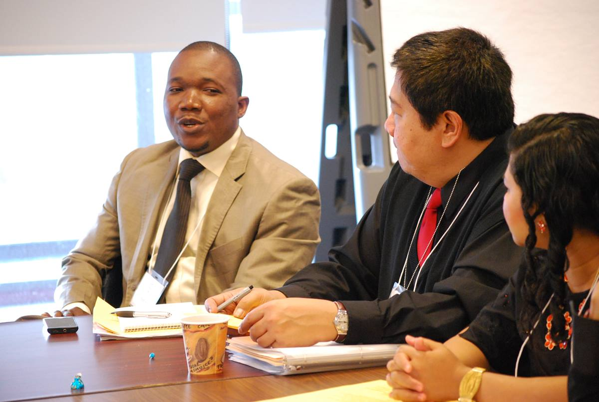 Jefferson Knight, left, of Liberia was among the United Methodist participants in a Feb. 12 panel discussion at the Church Center for the United Nations. UMNS Photo by Michelle Whittaker.