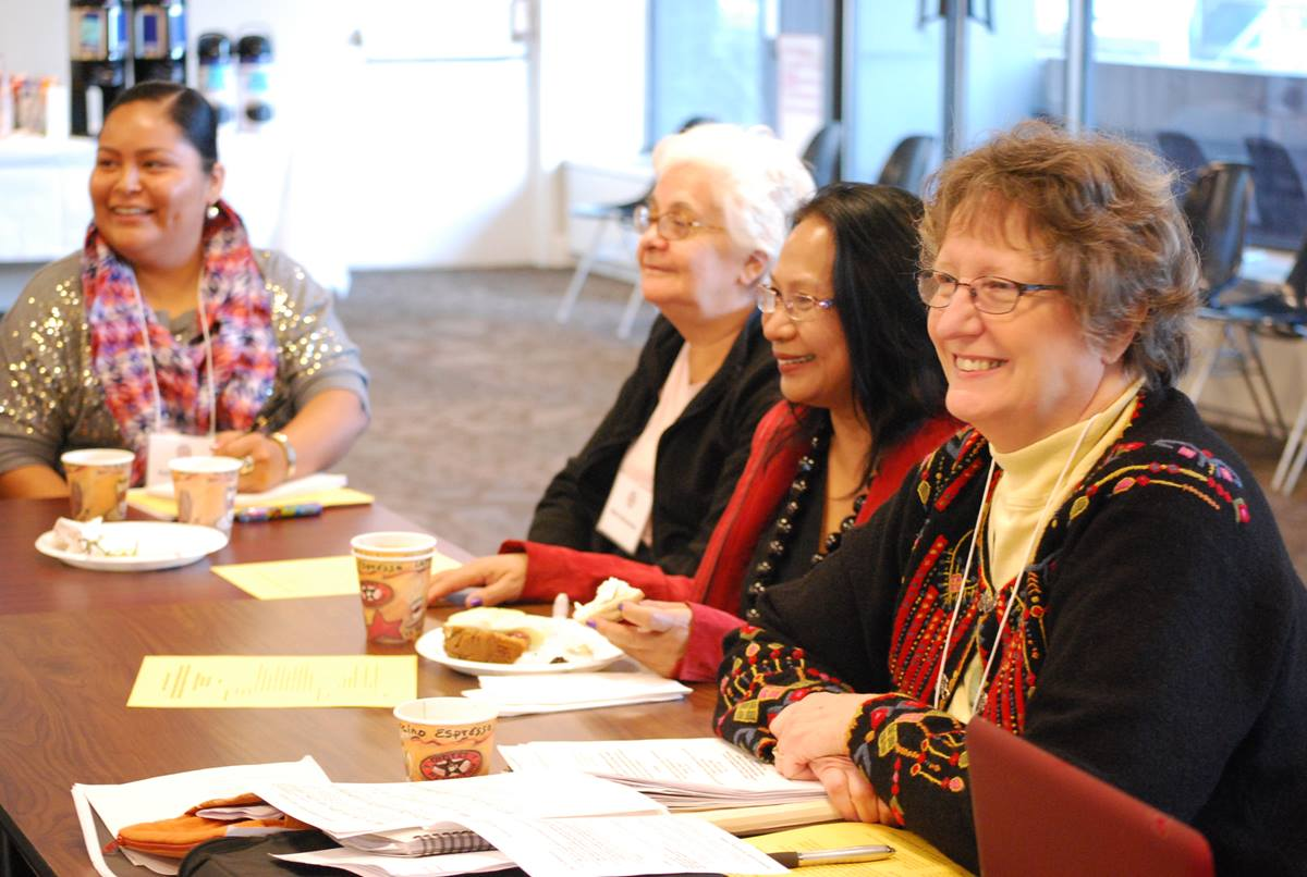 "From left, Kelly Redhouse, Marta Benavides, Indai Sajour and Kristina Peterson participate in the ""glocal gathering"" organized by the Board of Church and Society. UMNS Photo by Michelle Whittaker."