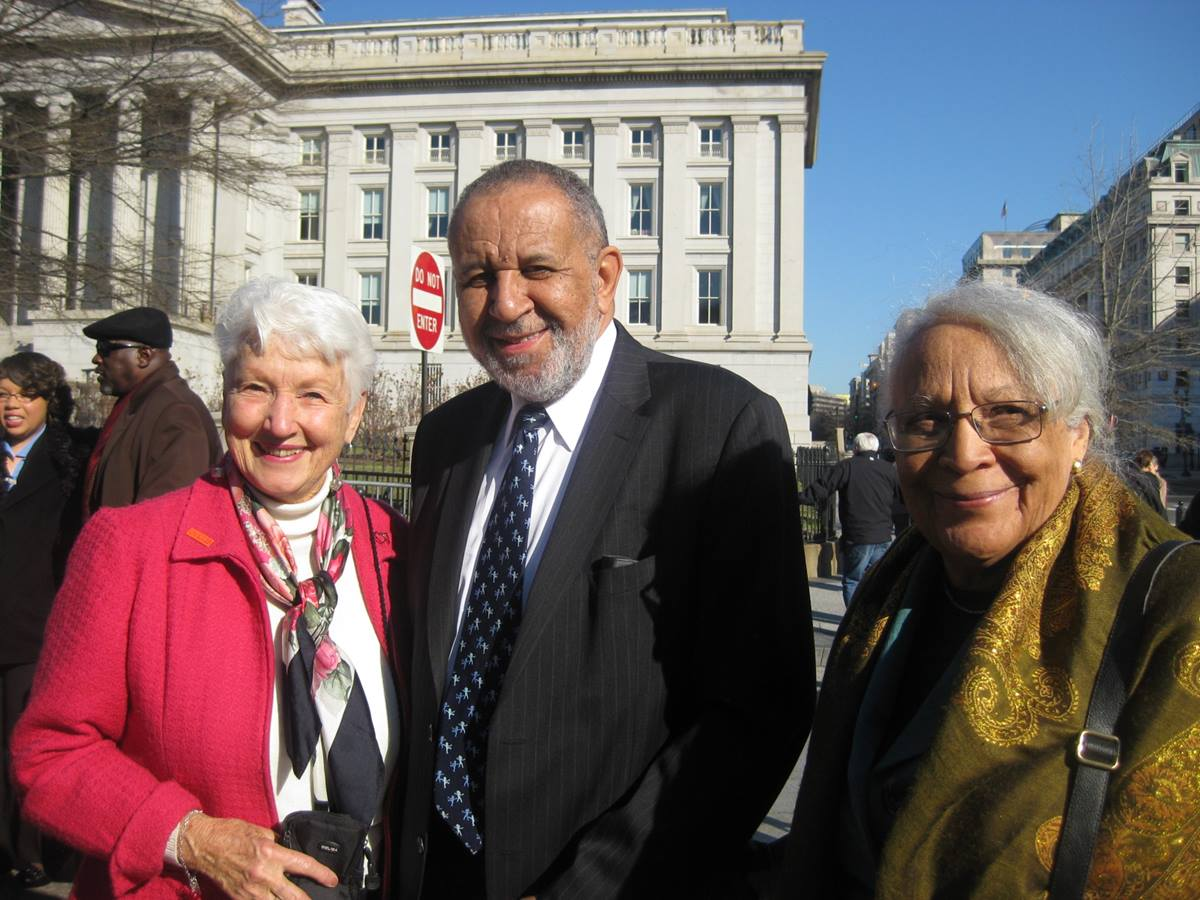 Jean Hodges(left), a member of First United Methodist Church in Boulder Colo., and the national vice president of Parents, Family, and Friends of Lesbians and Gays/PFLAG, the Rev. Gilbert H. Caldwell and Grace Caldwell attended the White House Honors ceremony. Photo courtesy of Jean Hodges.