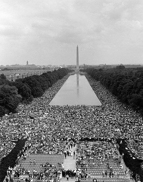 "More than 200,000 people gathered at the Lincoln Memorial to support the civil rights movement and heard the Rev. Martin Luther King's ""I Have a Dream"" speech. (View from the Lincoln Memorial toward the Washington Monument.) Wikipedia commons."