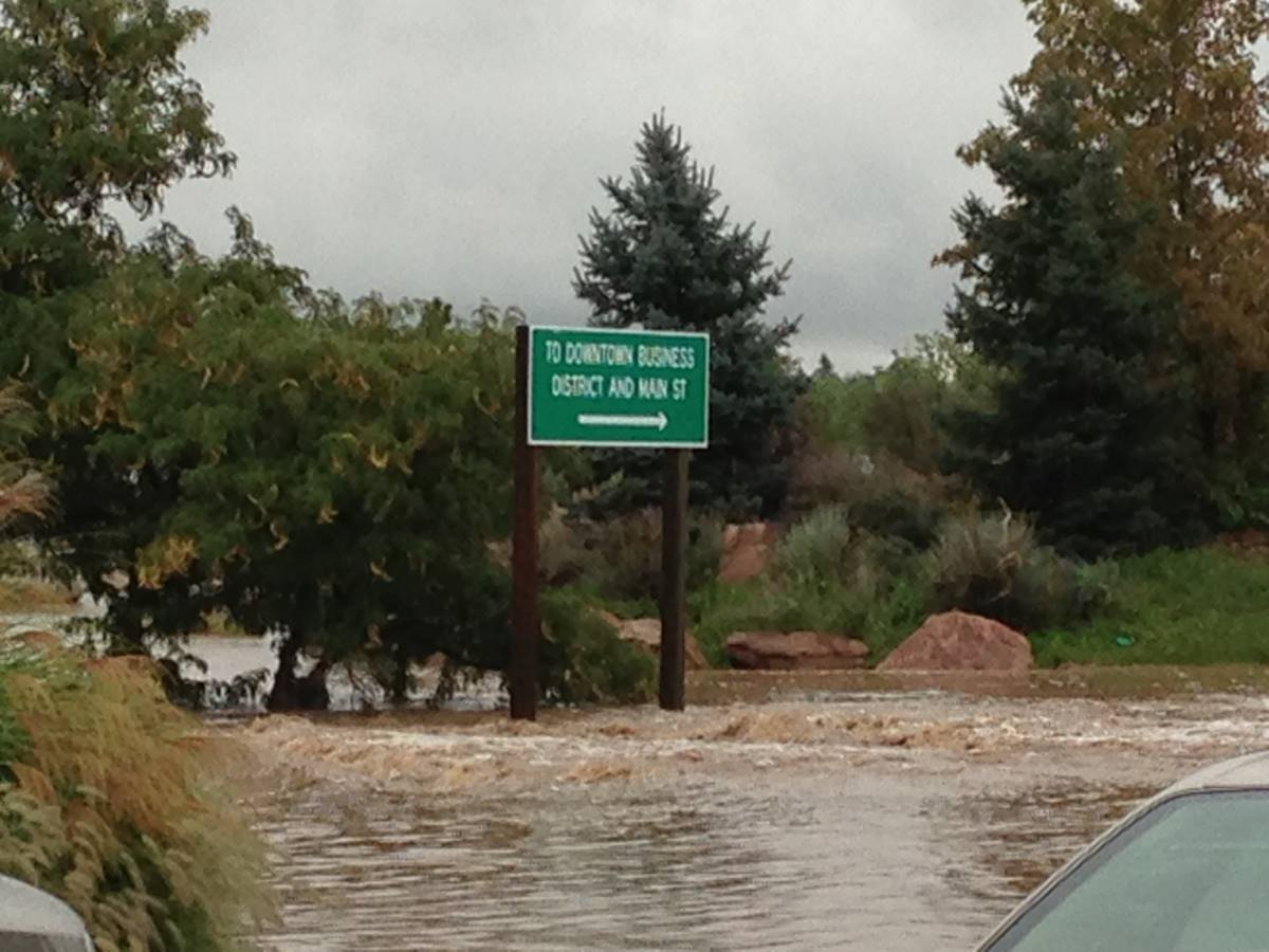 Flooding in Longmont, Colo., forced area residents – including a United Methodist district superintendent – to evacuate Sept. 13. Photo courtesy of Rocky Mountain Conference.
