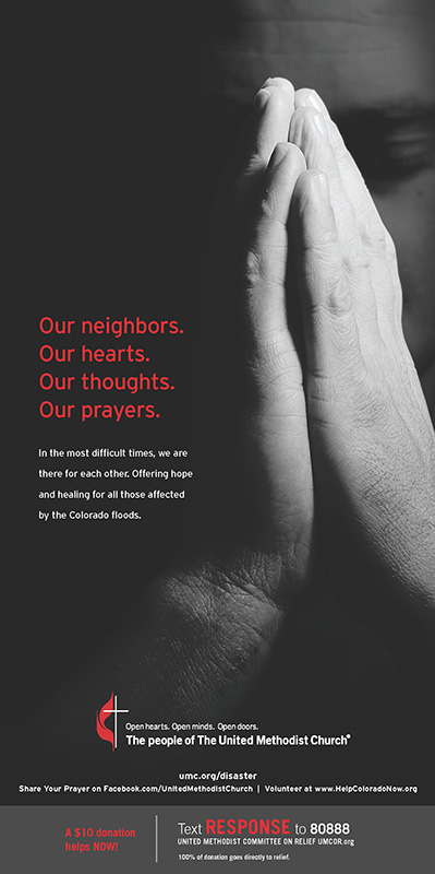 This ad from the United Methodist denomination will appear in Sunday print editions of the Denver Post, Fort Collins Coloradoan, Loveland Reporter-Herald, Canon City Daily Record, Boulder Daily Camera, Longmont Times-Call and Colorado Springs Gazette.