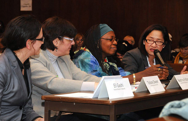 A panel discussion on violence against women during the 2012 U.N. Commission on the Status of Women meeting featured Eli Gashi, Titiana Dwyer, Beatrice Fofanah and Mavic Cabrera-Balleza. A UMNS file photo by John Goodwin