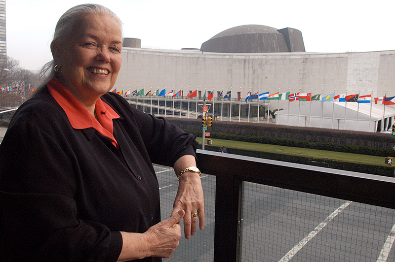 Mia Adjali, who served 46 years for United Methodist Women in the U.N. office, was a key presence at the CCUN until her retirement.. A UMNS file photo by John Goodwin.