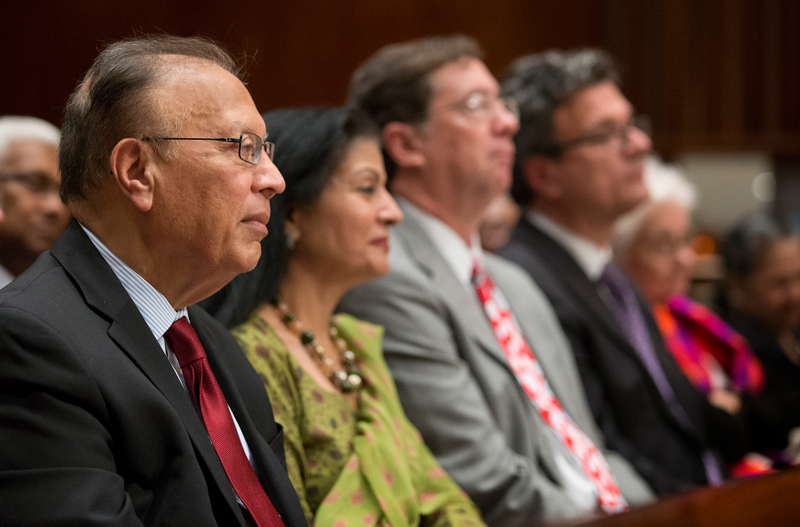 Guests listen during the 50th anniversary celebration of the Church Center for the United Nations in New York. From left are: Ambassador Anwarul K. Chowdhury, Lakshmi Puri, Jim Winkler and Thomas Kemper.