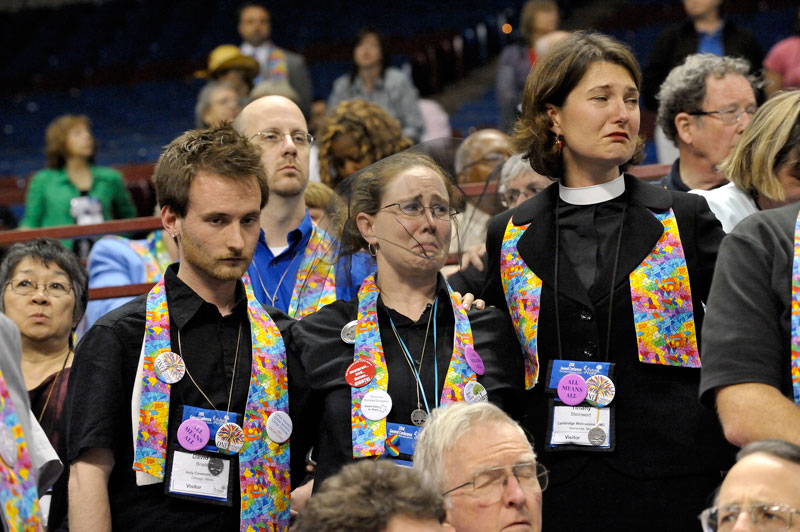 "Gay rights supporters react tearfully to an April 30 vote at the 2008 United Methodist General Conference, retaining the church's position that the practice of homosexuality is ""incompatible with Christian teaching."" A UMNS photo by Paul Jeffrey."
