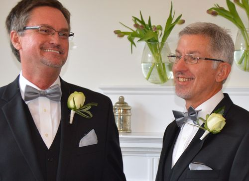 Bobby Prince and Joe Openshaw married in a civil ceremony in September and now look forward to being married by retired Bishop Melvin G. Talbert in the presence of family and friends on October 26. Photo by Kevin Higgs.
