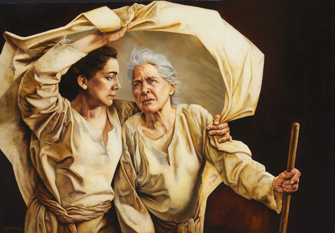 Biblical figures Ruth and mother-in-law Naomi are depicted as strong, caring women by painter Sandy Freckleton Gagon.