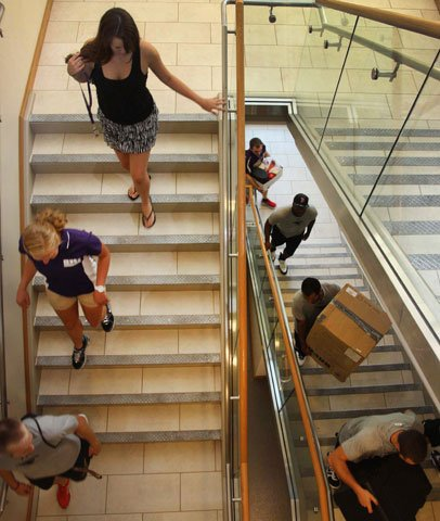 Students move into a new residence hall at McKendree University. McKendree University is named after Bishop William McKendree, the first American-born bishop of The Methodist Church.