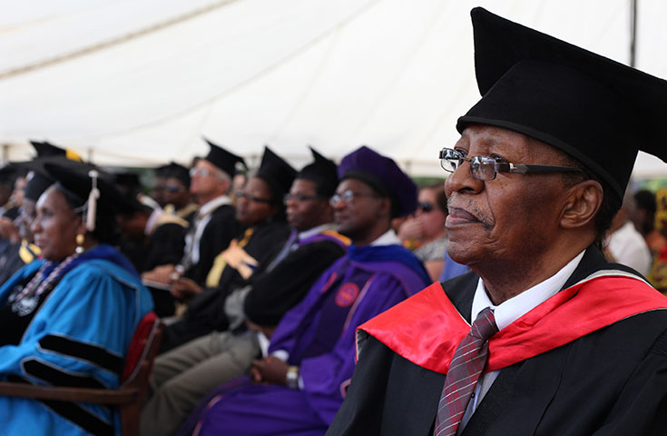 "Athanasius Mphuru, is recognized as a ""pioneer staff member"" during the March 23, 2013 20th anniversary celebration of Africa University. Mphuru is also professor of entomology and the former deputy vice chancellor. A UMNS photo by Kathleen Barry."