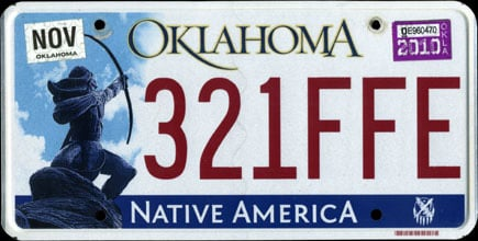 """One version of the Oklahoma license plate is based on a sculpture titled """"Sacred Rain Arrow"""" by Allen Houser. Photo via Wikimedia."""