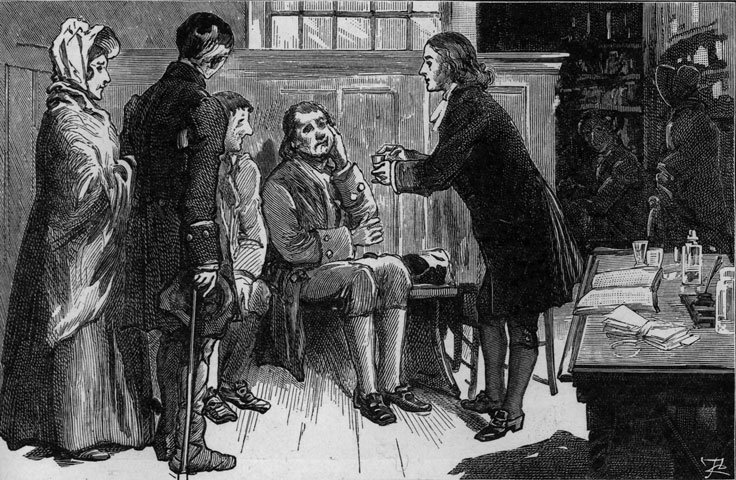 John Wesley often ministered to the sick  during a life blessed by good health. Photo courtesy of  the General Commission on Archives and History.