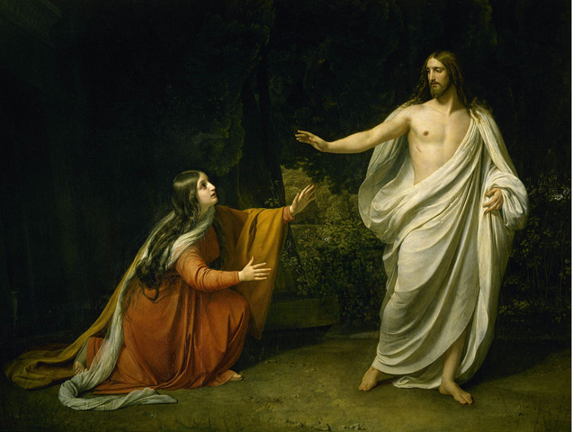 """Christ's Appearance to Mary Magdalene after the Resurrection"" is a painting by Alexander Ivanov from 1835. A web-only photo from Wikimedia Commons."