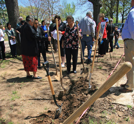 A groundbreaking is celebrated for a new ministry center at Cookson Hills Center in Cookson, Okla. The center, a project funded by The Advance for Christ and His Church, serves Native Americans in the area.