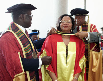 Graa Machel, wife of Nelson Mandela, receives an honorary doctorate during the 10th anniversary celebration at Africa University. A 2002 file photo courtesy of Africa University.
