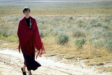 Bishop Elaine Stanovsky walks a path at the Sand Creek Massacre National Historic Site in Colorado in September 2010. A UMNS file photo by Ginny Underwood.