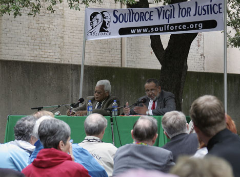 The Revs. James Lawson (left) and Gil Caldwell answer questions during an April 27 panel discussion hosted by Soulforce, an interfaith gay rights network.
