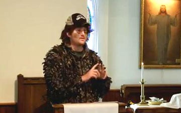The Rev. Russell Clark preaches out-of-the box sermons  - sometimes wearing funny hats and costumes - free of church jargon and  highlighting new and traditional music to appeal to people at different life  stages.