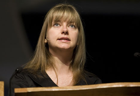 Kira Volkova helps give the first-ever Young People's Address during the 2008 United Methodist General Conference.
