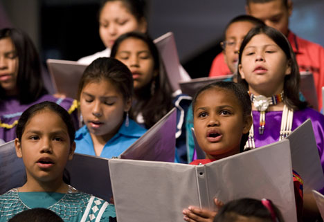 More than 35 tribes are represented by the 36 children, ranging from 2 to 17 years old, who make up the children's choir from the Oklahoma Indian Missionary Conference.