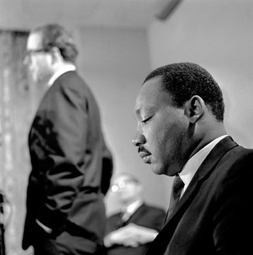 The Rev. Martin  Luther King Jr. (right)  and the Rev. William Sloane Coffin address a 1967 news conference by Clergy and Laymen Concerned About Vietnam in Washington.  <br> A UMNS photo  John C. Goodwin.