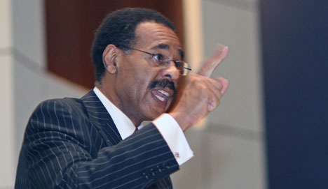U.S. Rep. Emanuel Cleaver addresses delegates and guests at the Board of Church and Society luncheon held in conjunction with the 2008 United Methodist General Conference. Cleaver is also a United Methodist minister.