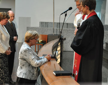 Meeli Tankler is installed as president of Baltic Methodist Theological Seminary, Tallinn, Estonia.  A web-only photo by llas Tankler.