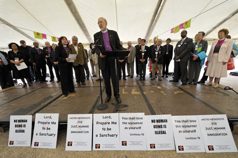 Bishop Timothy W. Whitaker of the Florida Area addresses an immigrant rights rally outside the Fort Worth Convention Center, site of the 2008 United Methodist General Conference.