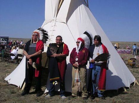 Descendants of survivors of the 1864 Sand Creek massacre attend the April 2007 dedication of the Sand Creek Massacre National Historic Site near Chivington, Colo.